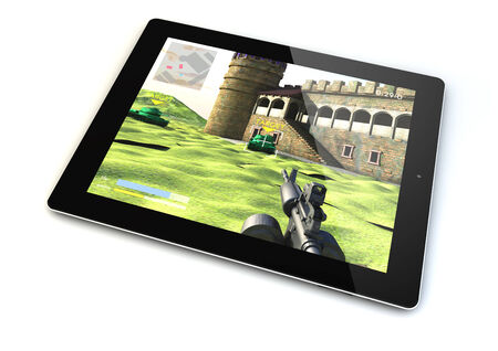 shooter: render of a tablet with a shooter game on the screen Stock Photo