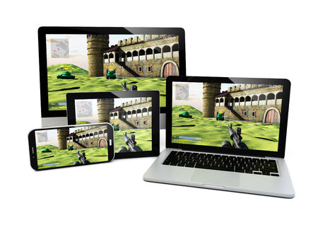 shooter: render of laptop, computer, tablet and smartphone with a shooter game on the screen