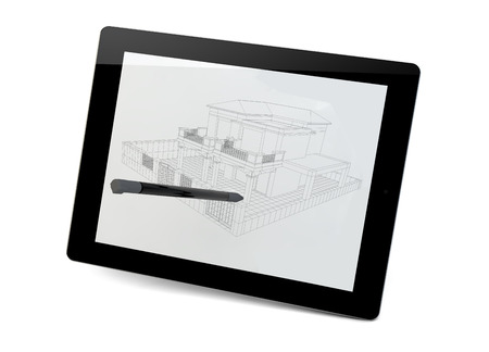 interacting: render of a building proyect in a tablet Stock Photo
