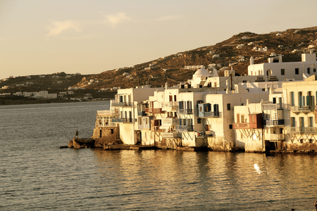Little Venice neighborhood of Mykonos island, Greece photo