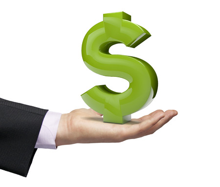business money: dollar symbol over a businessman hand