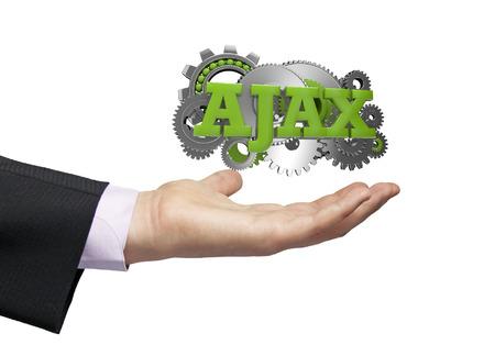 ajax: gears with text ajax over a businessman hand Stock Photo