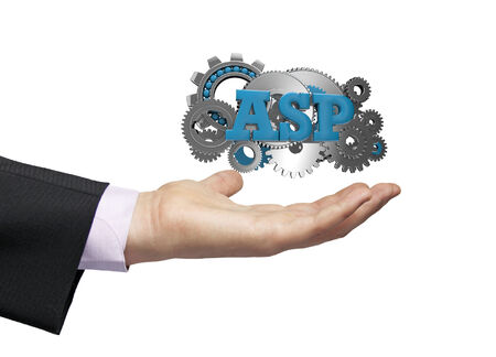 asp: gears with text asp over a businessman hand Stock Photo