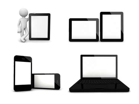 electronic devices: some blank devices in a collage, mockup use