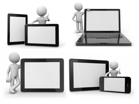 renders: collage of renders with white ballhead character showing different devices