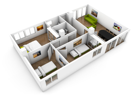 construction plans: render of a show flat mock-up with furniture isolated on white background