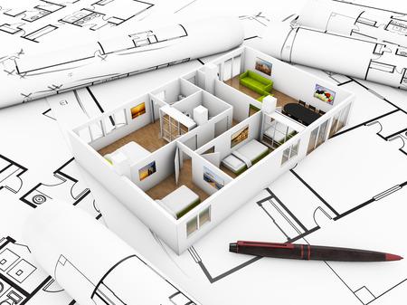 a flat mockup over plots, interior design concept