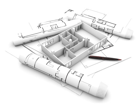 architect: flat project: scale model of apartament render over plots isolated on white background