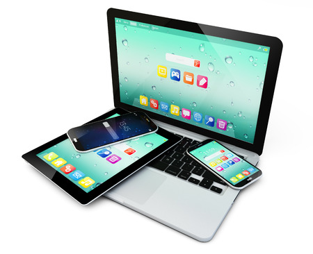 business laptop or notebook, tablet computer PC and touchscreen smartphones with application interfaces isolated on white photo