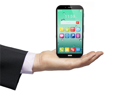 touchscreen smartphones with colorful interface with color icons and buttons isolated over a businessman hand on white background photo