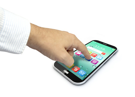 touchscreen smartphone with colorful interface with color icons and buttons and a hand touching the screen isolated on white background photo