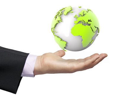 global concept: earth render focused on europe and afrika over a businessman hand Stock Photo
