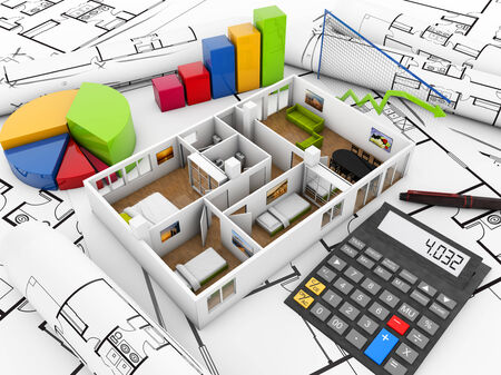 plots: real estate finances concept: house, calculator and graphics over plots Stock Photo