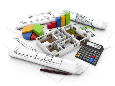 investment real state: inmobiliario financia concepto: casa, calculadora y gráficos sobre parcelas aisladas sobre fondo blanco Foto de archivo