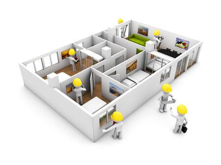 refurbishing: refurbishment concep: a group of workers refurbishing a flat