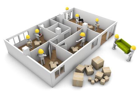 refurbishing: Casa in movimento e il concetto di riforma: un gruppo di lavoratori che trasportano mobili e ristrutturazione di una casa isolata su sfondo bianco