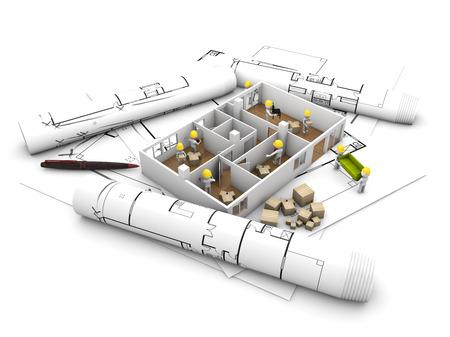 reforming: mudarse de casa y el concepto de reforma: la reforma y rehabilitaci�n de los trabajadores una casa sobre parcelas y llama la t�cnica, aislado en fondo blanco