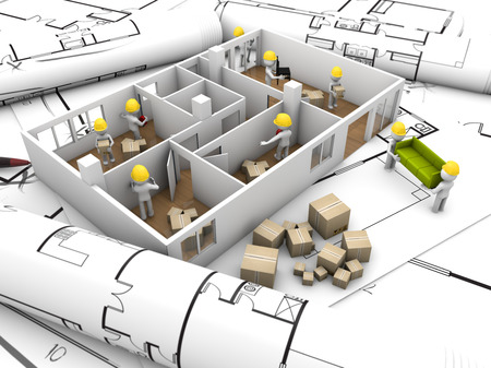 redesign: house moving and rehabilitation concept: mock-up flat with workers over plots and technical draws Stock Photo