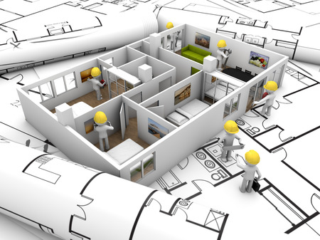 refurbishing: house refurbishing concept: house mock-up with workers over plots and technical draws Stock Photo