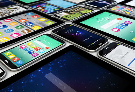 mobile app: mobility concept: render of a collection of mobile devices, tablets and smartphones Stock Photo