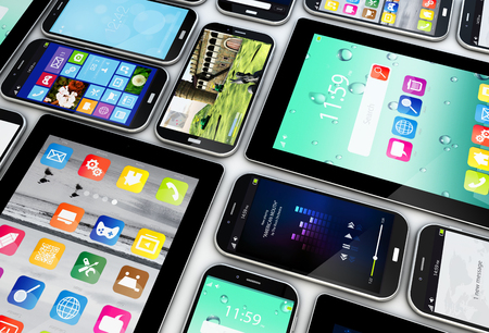 telecom: render of a collection of smartphones and tablets with different screens