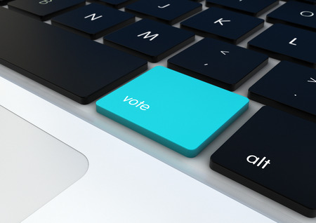 democracy concept: vote button on a keyboard render Stock Photo