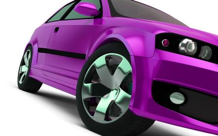 design concept: pink car render on white background photo