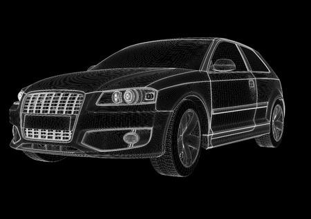 黒の背景に 3 d の車のモデル