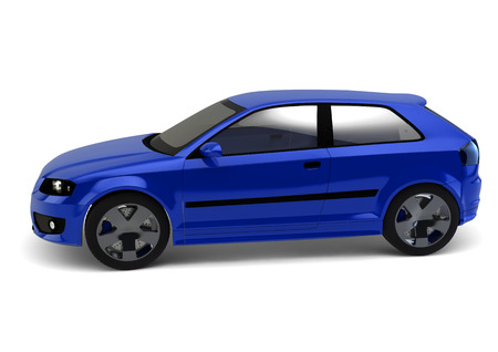 3d model: blue car render isolated on white background Stock Photo