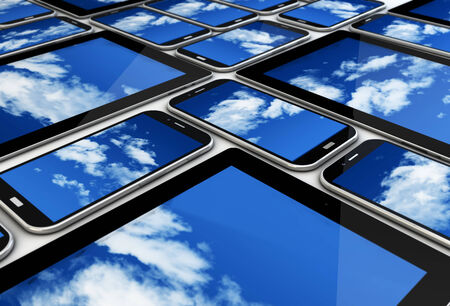 render of a collection of devices with cloud on the screen; cloud concept photo