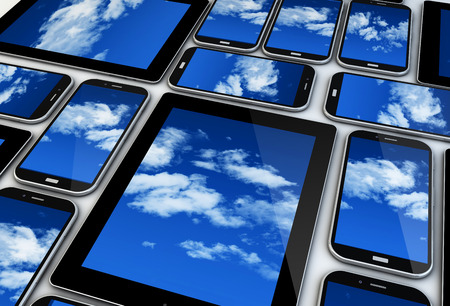 mobile devices: mobile devices render: cloud concept Stock Photo