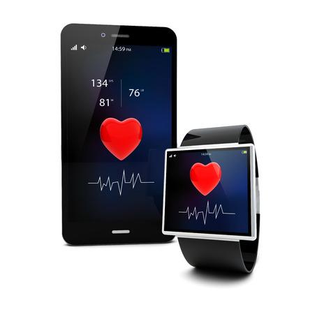 health healthcare: Concepto de salud conectividad aplicaci�n: reloj inteligente y smartphone con pantalla t�ctil aislado en fondo blanco