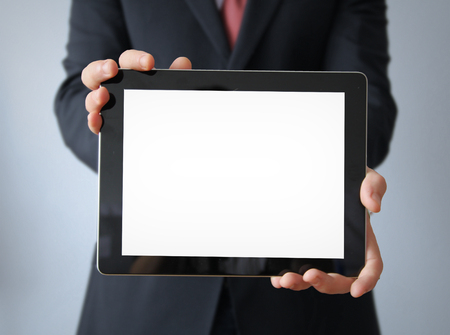 blank tablet: businessman with blank display tablet