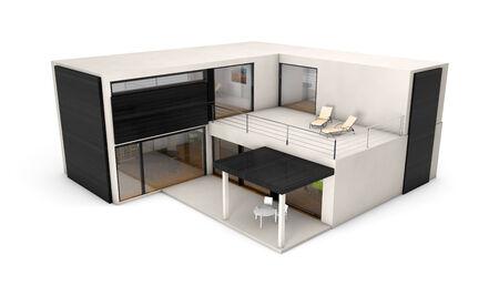 modular: modular house concept: modular house isolated on white background