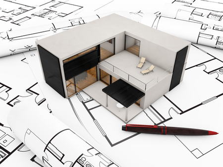 plots: modular building plan concept: modular building over plots Stock Photo