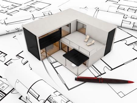 modular: modular building plan concept: modular building over plots Stock Photo