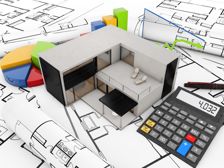 modular home: real estate balance concept: concrete modular house over plots with graphics and calculator over white background