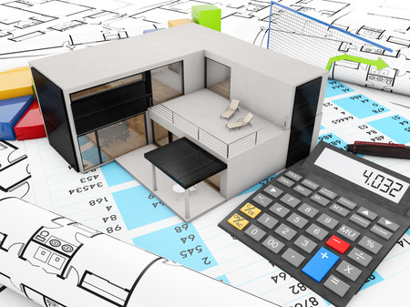 modular home: real estate finances concept with modular house, graphics and calculator