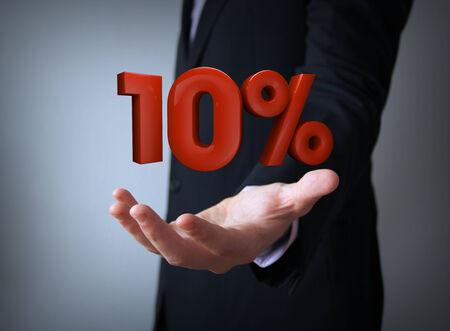 3d rendering of a percent ten symbol photo