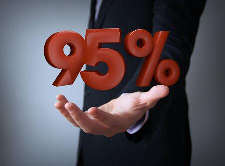 95: 3d rendering of a percent 95 symbol Stock Photo