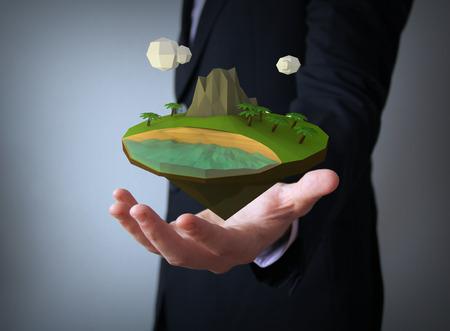 holydays: holydays concept: tropical island over businessman hand