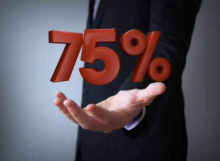 sellout: 3d rendering of a percent 75 symbol Stock Photo