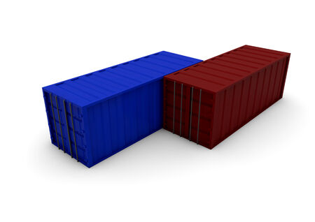cargo container: trade concept: two containers isolated on white background