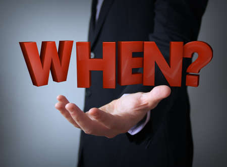when: businessman hand holding when