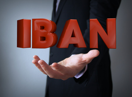 euro area: iban text over businessman hand