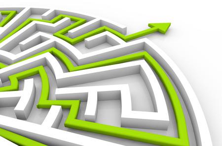 labyrinth: challenge success concept: labyrinth solution Stock Photo