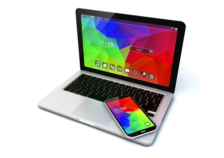 business chrome laptop and modern touchscreen smartphone with colorful application interfaces isolated on white background photo