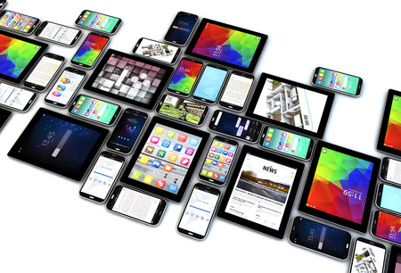 digital communication technology business concept: collection of tablet and smartphones with colorful interfaces isolated on white background