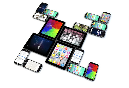 Mobility business concept: group of tablet computer PC and mobile phones with different apps isolated on white background photo
