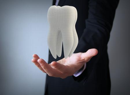 técnico dental: Hombre de negocios con el diente faceta 3d